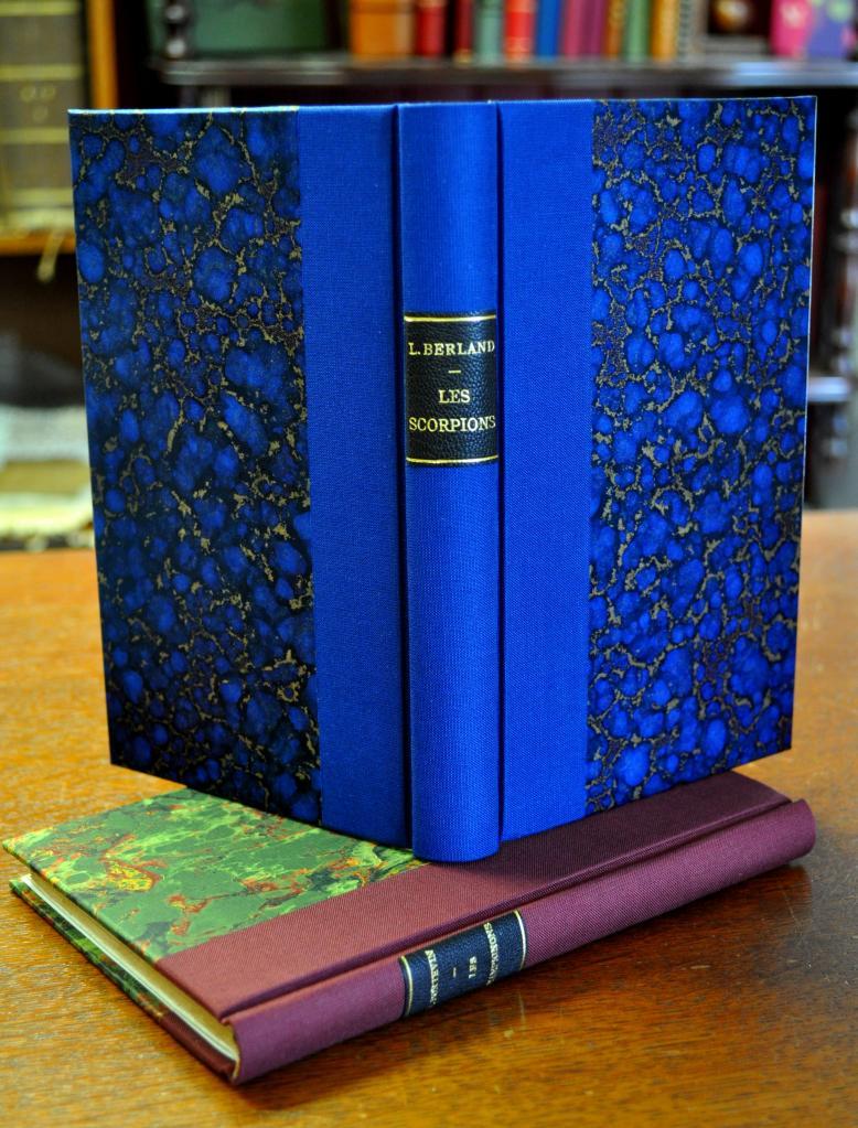 1/2 toile bleu indigo et bordeaux, plats papier marbré bleu et or et ingres mécanique